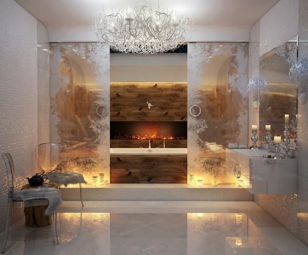 Camino in bagno lussuoso